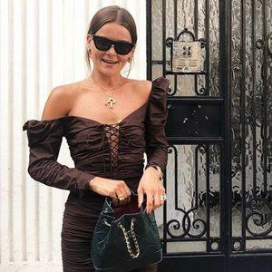 Zara Brown Influencer Dress